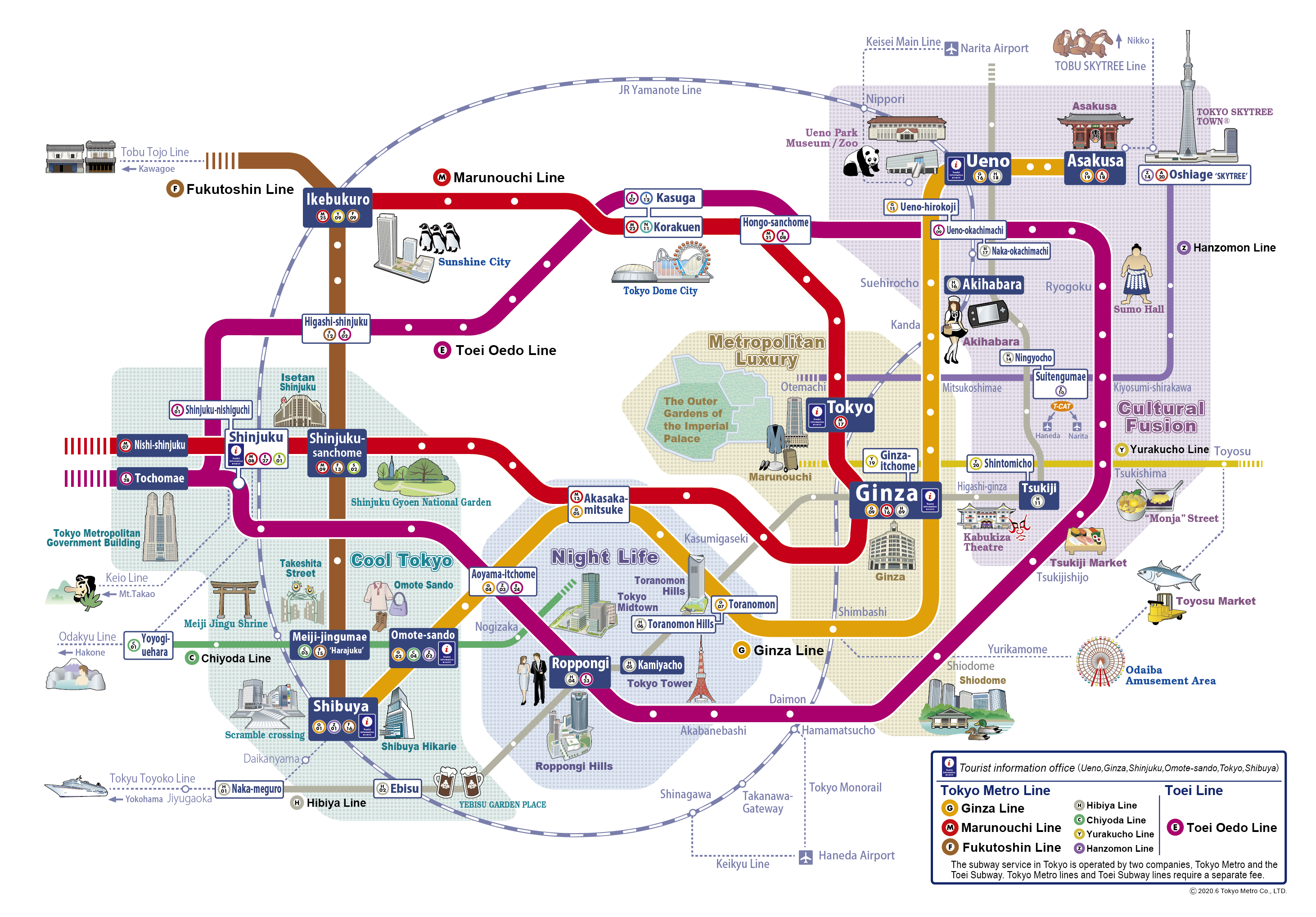 Tokyo Subway Map With Attractions.Tokyo Metro See Tokyo With Tokyo Metro