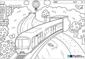 電車の中の子供たち面白いイラストですベクトルのアイコン塗り絵